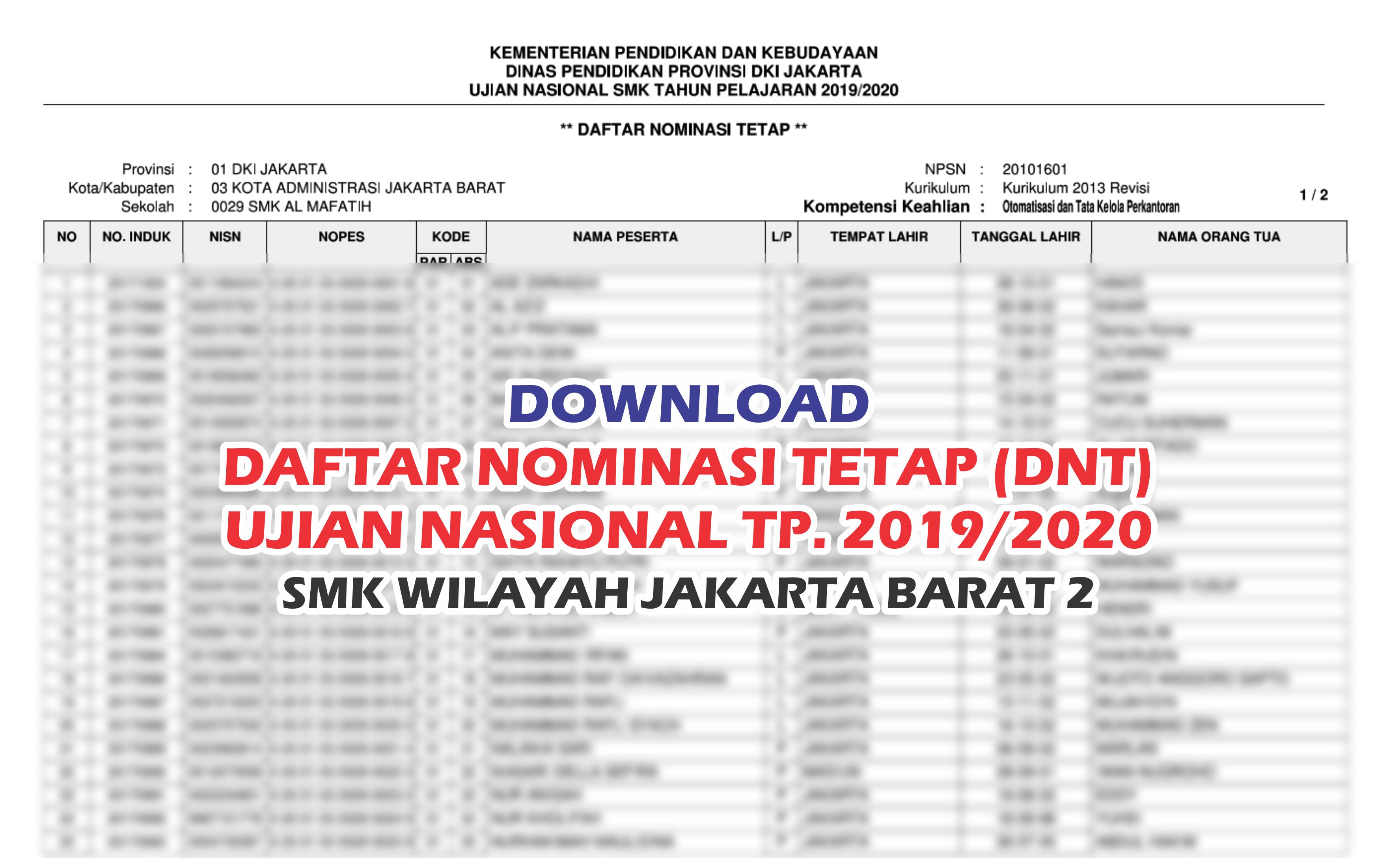 DNT Peserta UN Tahun Pelajaran 2019/2020